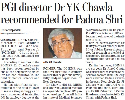 PGI Director Dr YK Chawla recommended for Padma Shri (Post-Graduate Institute of Medical Education and Research (PGIMER))