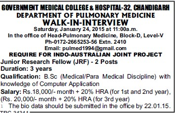 Junior Research Fellow (Government Medical College and Hospital (Sector 32))