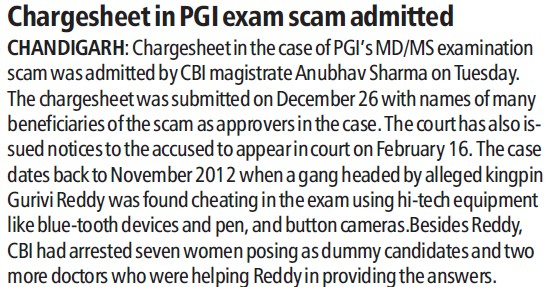 Chargesheet in PGI exam scam admitted (Post-Graduate Institute of Medical Education and Research (PGIMER))