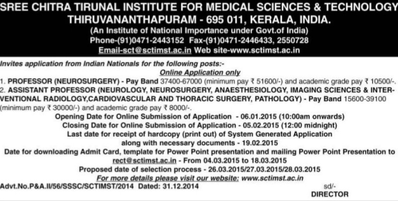 Asstt Professor in Neurography (Sree Chitra Tirunal Institute For Medical Sciences and Technology)