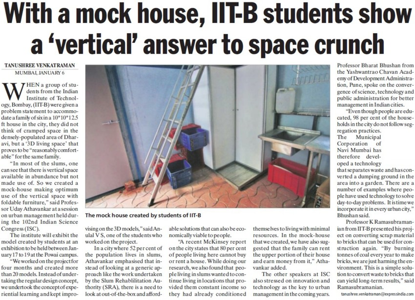 IITB students show vertical answer to space crunch (Indian Institute of Technology (IITB))