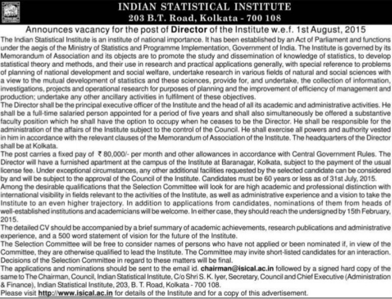 Director required (Indian Statistical Institute)