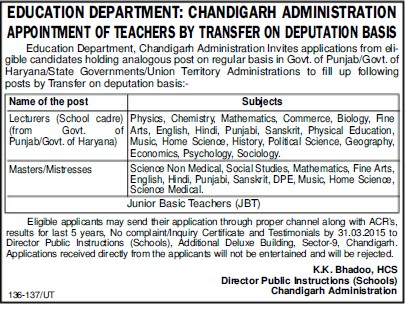 Lecturer for Physical Education (Education Department Chandigarh Administration)