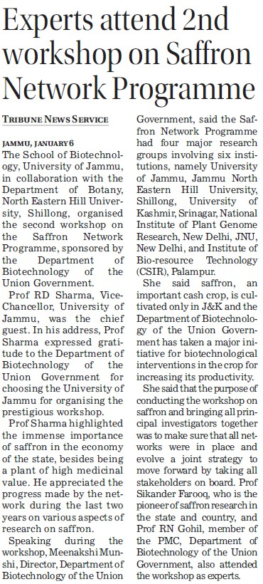 Workshop on Saffron Network Programme (Jammu University)