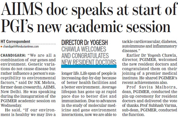 AIIMS doc speaks at start of PGI's new academic session (Post-Graduate Institute of Medical Education and Research (PGIMER))