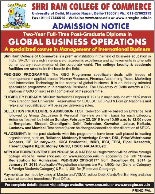 PGD in Global Business Operations (Shri Ram College of Commerce)