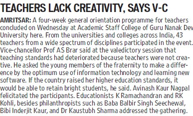 Teachers lack creativity, VC (Guru Nanak Dev University (GNDU))