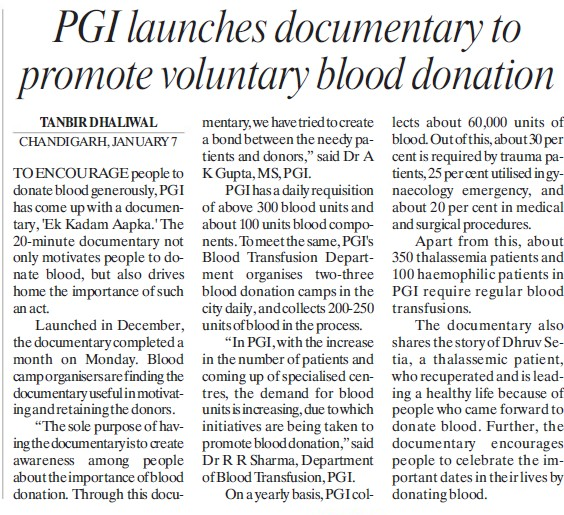 PGI launches documentary to promote voluntary blood donation (Post-Graduate Institute of Medical Education and Research (PGIMER))