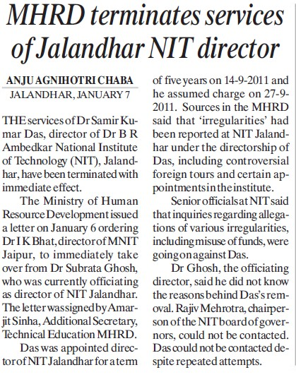 MHRD terminates services of NIT Director (Dr BR Ambedkar National Institute of Technology (NIT))
