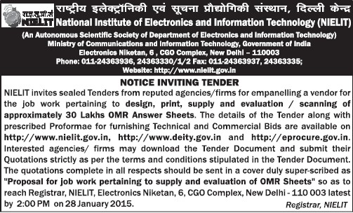 Supply of OMR Sheets (NIEIT DOEACC Society)