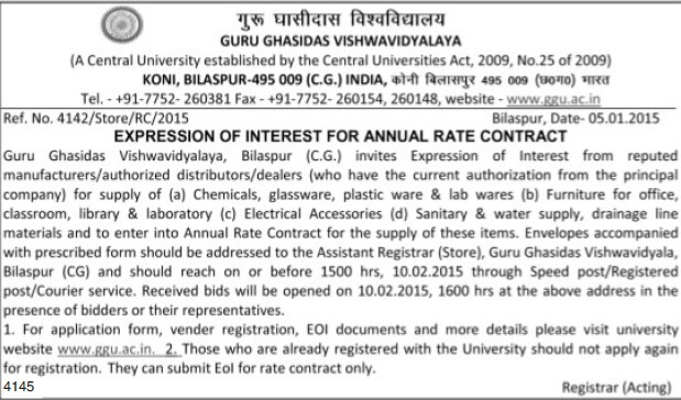 Supply of Glassware and Plasticware (Guru Ghasidas University)
