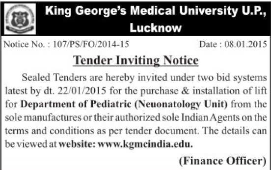 Purchase of Neunatology Unit (KG Medical University Chowk)