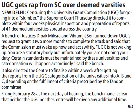UGC gets rap from SC over deemed Varsities (University Grants Commission (UGC))