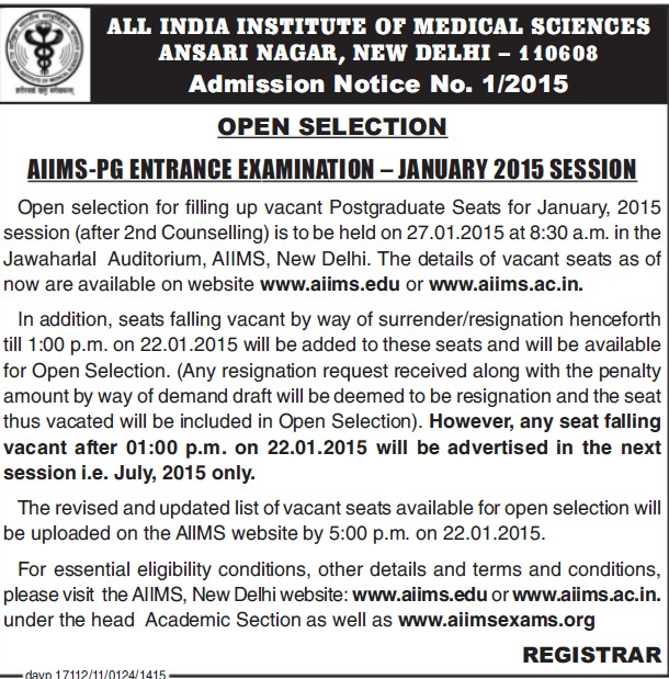 AIIMS PG Entrance Examination 2015 (All India Institute of Medical Sciences (AIIMS))