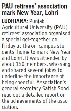 PAU retires association mark new year, Lohri (Punjab Agricultural University PAU)