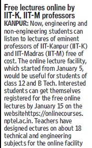 Free lectures online by IIT K, IIT M Professors (Indian Institute of Technology (IITK))