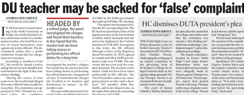 DU teacher may be sacked for false complaint (Delhi University)