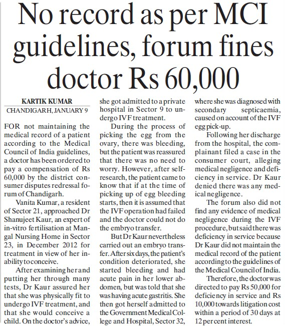 No record as per MCI guidelines, forum fines doctor Rs 60,000 (Medical Council of India (MCI))
