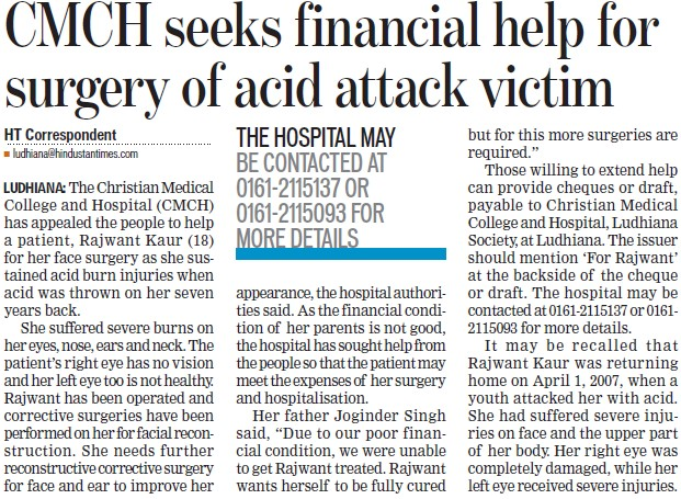 CMCH seeks financial help for surgery of acid attack victim (Christian Medical College and Hospital (CMC))