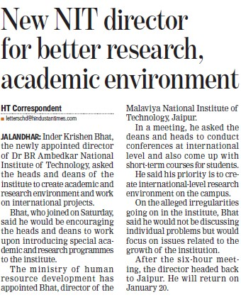 New NIT Director for better research, academic environment (Dr BR Ambedkar National Institute of Technology (NIT))