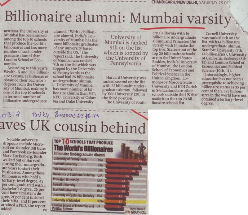 Billionaire alumni, MU leaves UK cousin behind (University of Mumbai (UoM))