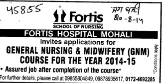 GNM Course (Fortis Hospital)