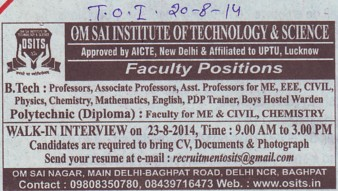 Asstt Professor for CE and ME (OM Sai Institute of Technology and Science)