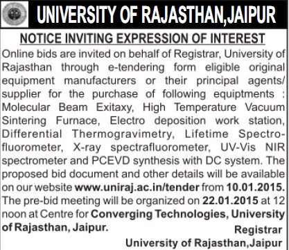 Supply of Molecular Beam Exitary (University of Rajasthan)