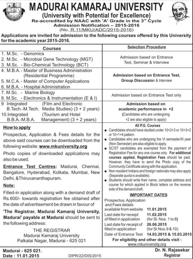 MSc in Genomics (Madurai Kamaraj University)