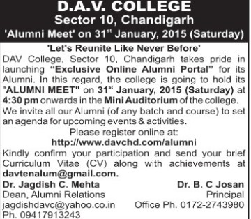 Alumni Meet held (DAV College Sector 10)