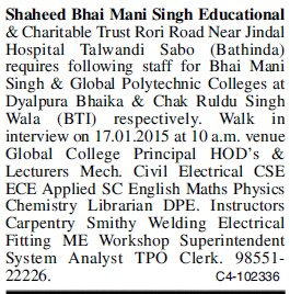 Staff required (Shaheed Bhai Mani Singh Educational and Charitable Trust)