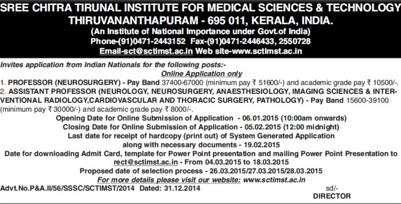 Asstt Professor for Neurosurgery (Sree Chitra Tirunal Institute For Medical Sciences and Technology)