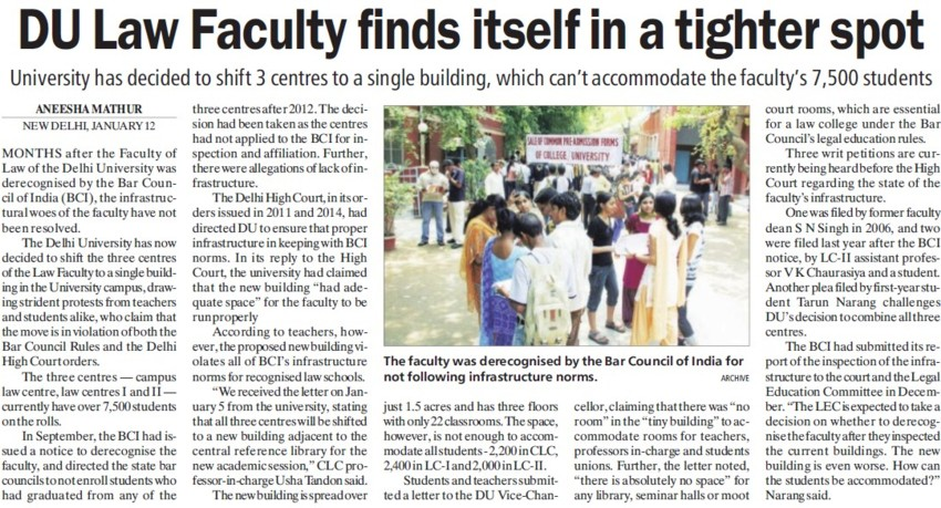 DU Law Faculty finds itself in tighter spot (Delhi University)
