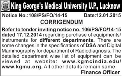 Purchase of Medical equipments (KG Medical University Chowk)
