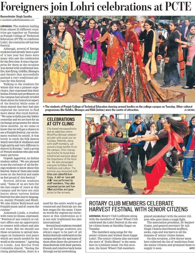Foreigners join Lohri celebrations at PCTE (PCTE Group of Insitutes Baddowal)