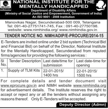 Supply of TLM kits (National Institute for the Mentally Handicapped (NIMH))