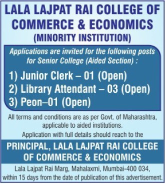 Junior Clerk and Library Attendant (Lala Lajpatrai College of Commerce and Economics (LLCC))