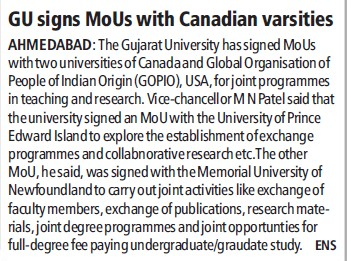 GU signs MoUs with Canadian varsities (Gujarat University)