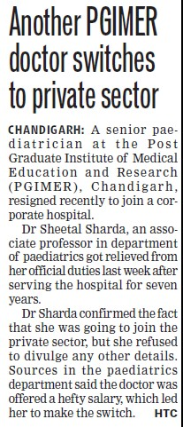 Another PGIMER doctor switches to pvt sector (Post-Graduate Institute of Medical Education and Research (PGIMER))