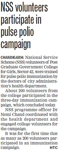 NSS volunteers participate in pulse polio campaign (PG Government College for Girls (GCG Sector 42))