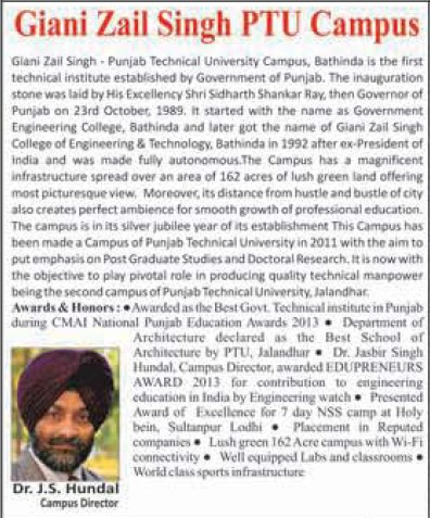 Message of Director JS Hundal (Giani Zail Singh College of Engineering and Technology GZCET)