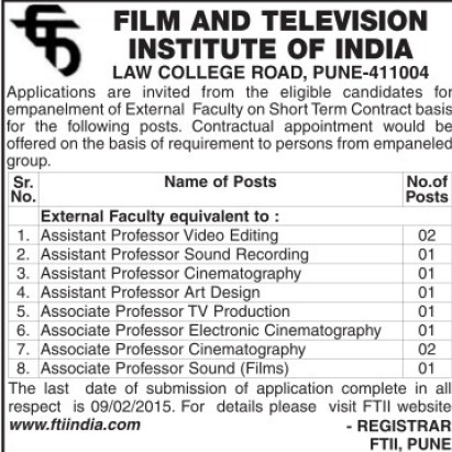 Asstt Professor in Video Editing (Film and Television Institute of India)