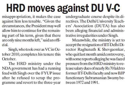 HRD moves against DU VC (Delhi University)
