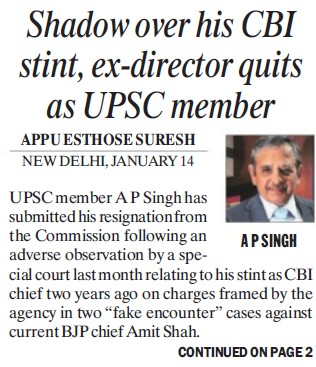Shadow over his CBI stint, ex Director quits as UPSC member (Union Public Service Commission (UPSC))