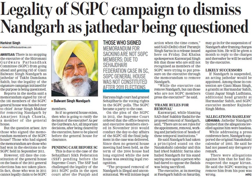 Legality of SGPC campaign to dismiss Nandgarh as jathedar being questioned (Shiromani Gurdwara Parbandhak Committee (SGPC))