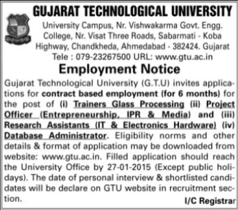 Project Officer (Gujarat Technological University)