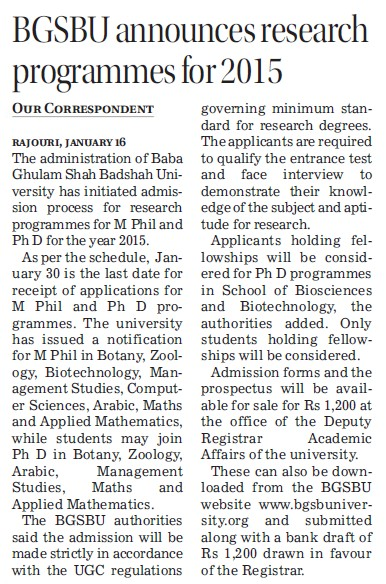 BGSBU announces research programme for 2015 (Baba Ghulam Shah Badshah University)