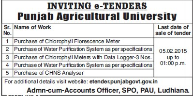 Purchase of Chlorophyll Florescence Meter (Punjab Agricultural University PAU)