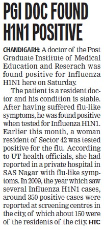 PGI doc found H1N1 positive (Post-Graduate Institute of Medical Education and Research (PGIMER))