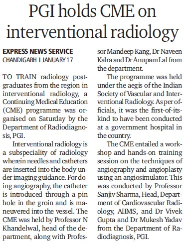 PGI holds CME on Interventional radiology (Post-Graduate Institute of Medical Education and Research (PGIMER))